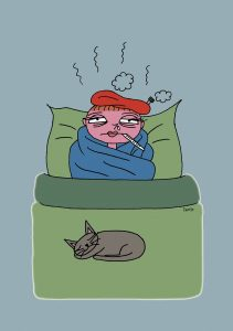高熱でダウンした妻。