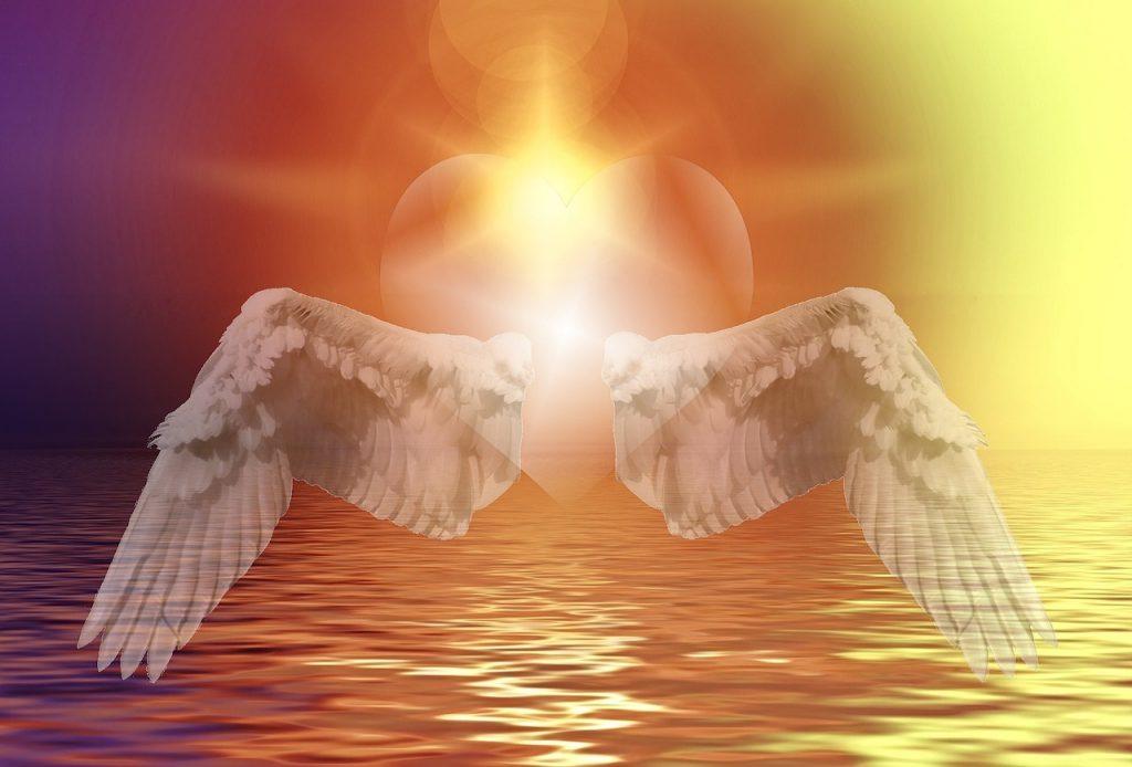 心が温まる。ハートに翼の画像