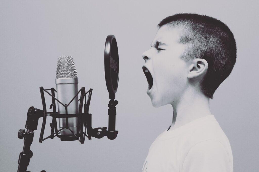 歌う男の子・マイクの画像