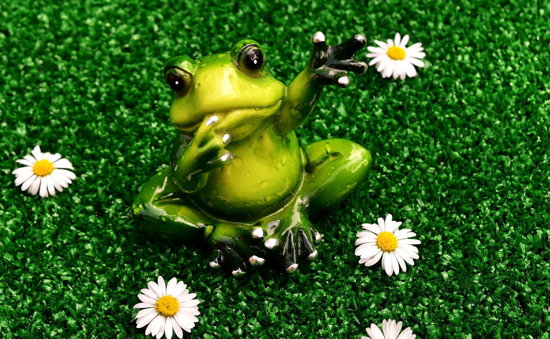 お別れの手を振るカエルの画像