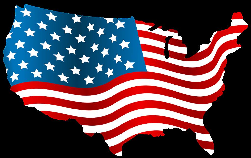 アメリカ合衆国国土にアメリカ合衆国国旗のイラスト