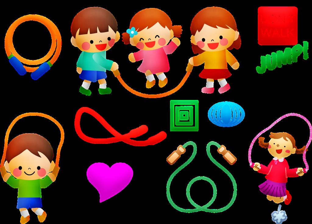 子どもが縄跳びをしているイラスト