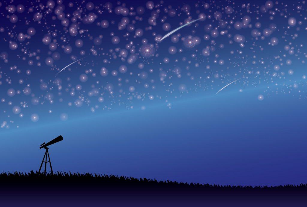 夜空と望遠鏡のイメージ画像