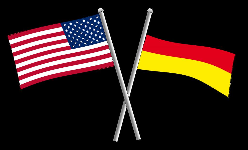 アメリカ合衆国国旗とドイツ国旗