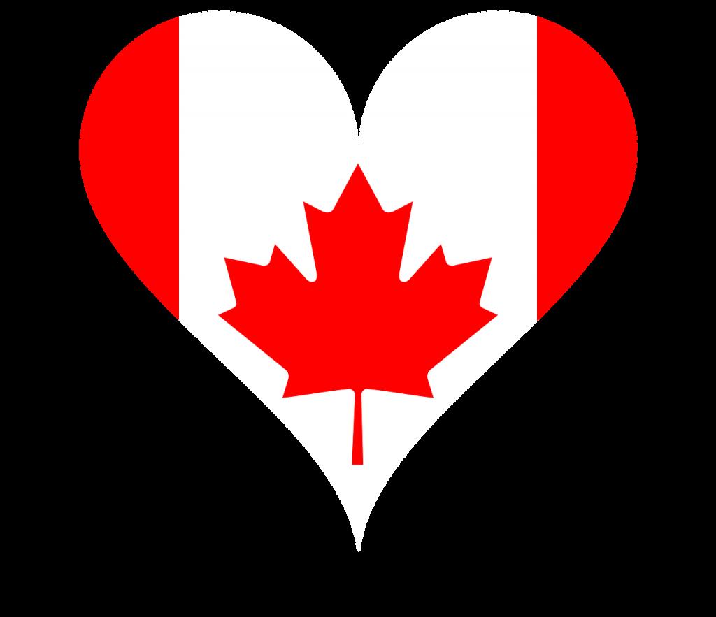 ハートの形にカナダ国旗・メープルのシンボル