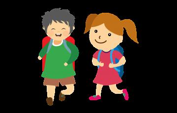 小学生の男の子と女の子のイラスト
