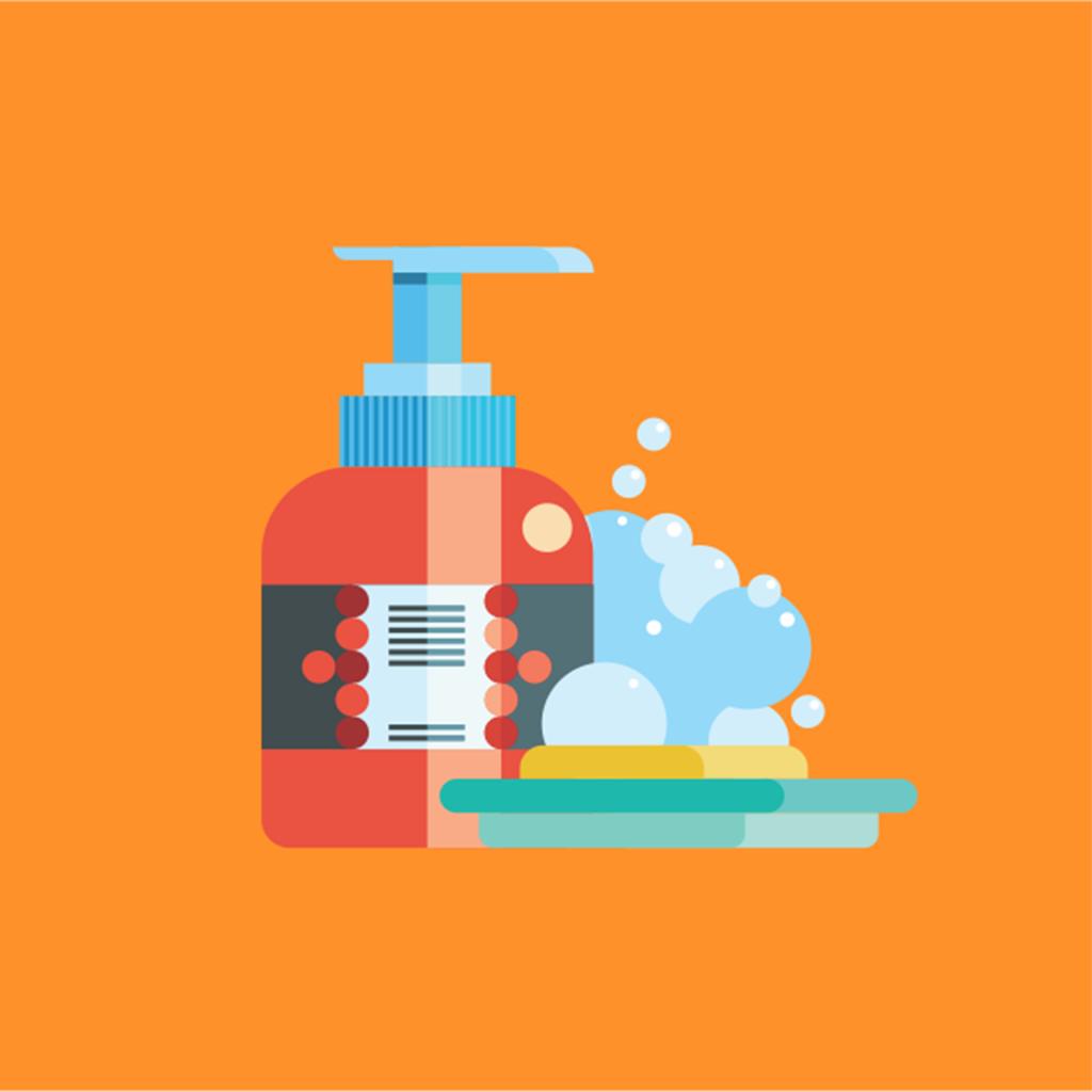 シャンプーのイラスト・お風呂のイメージ画像