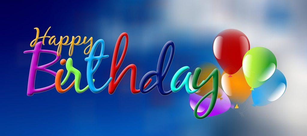 ハッピーバースデイの文字・風船・誕生日のイメージ画像