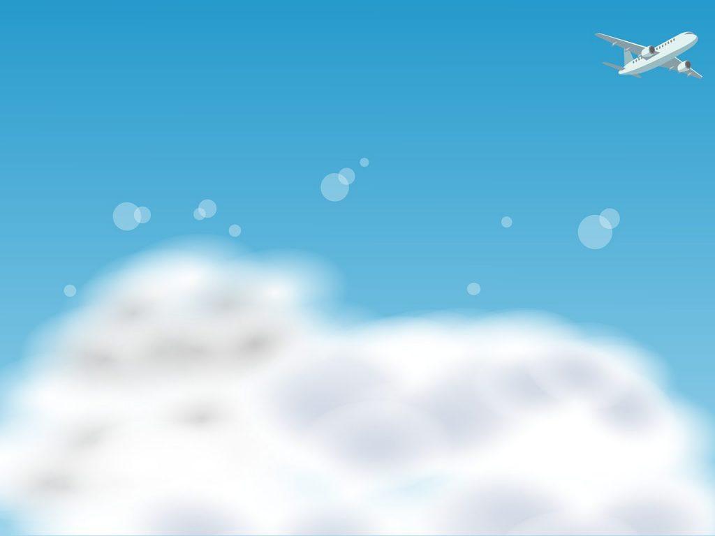 青い空に白い雲・飛行機:空の日のイメージ画像