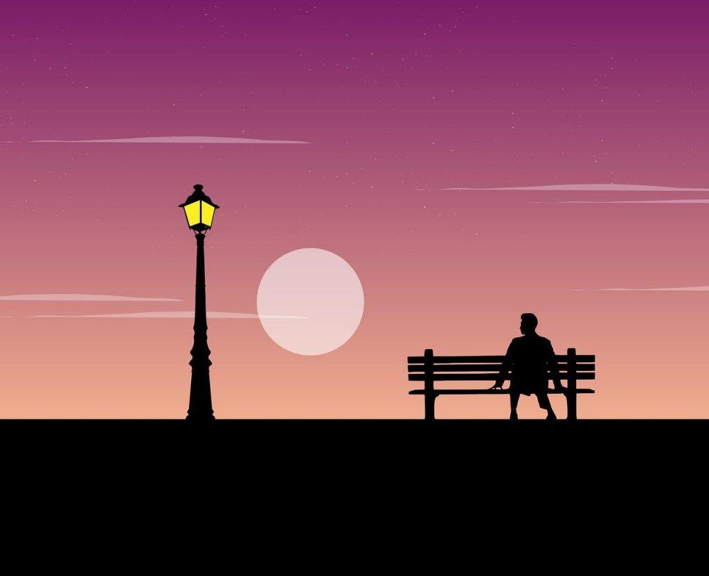 ガス灯の街灯と夕暮れ・ガスの記念日のイメージ画像