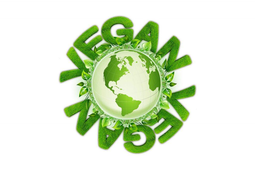 ビーガンの文字と緑の地球・世界ビーガンデーのイメージ