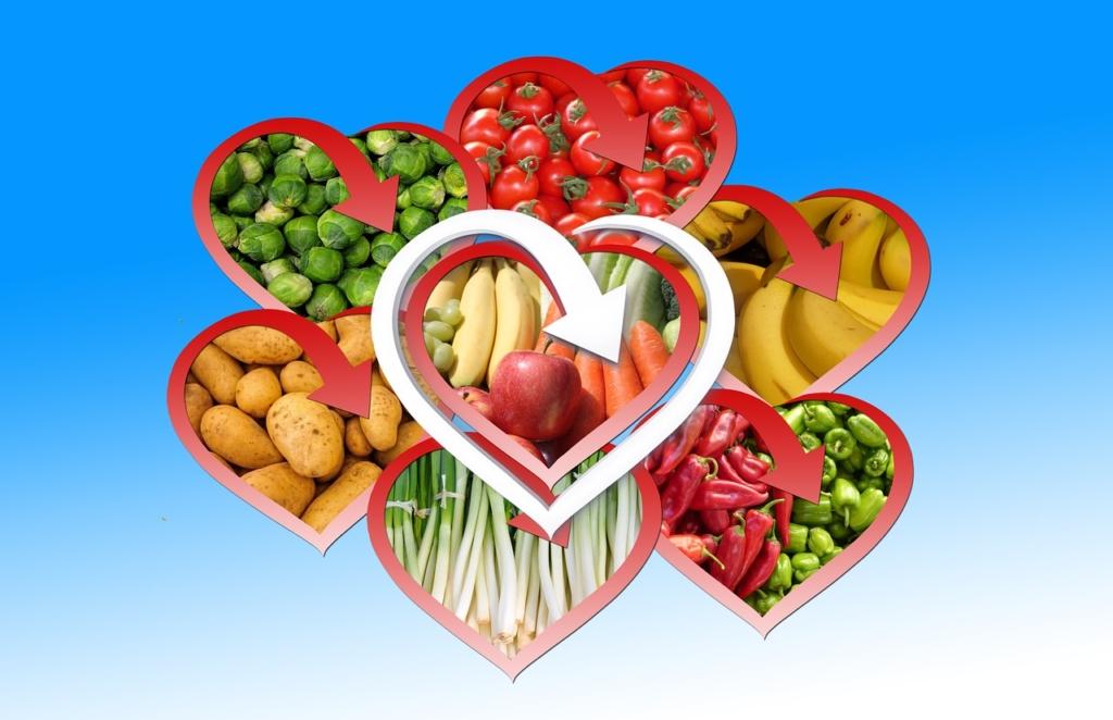 野菜とハート・ビタミンのイメージ画像